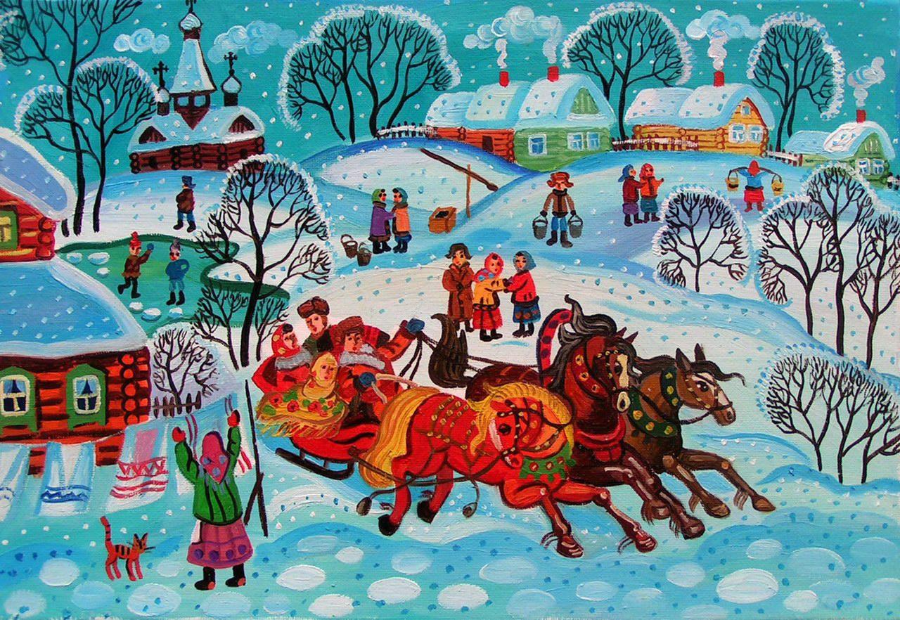 русские народные картинки зима одном храмов